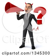 Clipart Of A 3d Young White Devil Businessman Holding A Question Mark And Announcing With A Megaphone Royalty Free Illustration