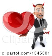 Clipart Of A 3d Young White Devil Businessman Holding Up A Red Love Heart Royalty Free Illustration