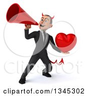 Clipart Of A 3d Young White Devil Businessman Holding Up A Red Love Heart And Announcing With A Megaphone Royalty Free Illustration