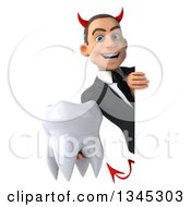 Clipart Of A 3d Young White Devil Businessman Holding A Tooth Around A Sign Royalty Free Illustration