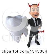 Clipart Of A 3d Young White Devil Businessman Holding Up A Tooth Royalty Free Illustration