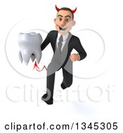 Clipart Of A 3d Young White Devil Businessman Holding A Tooth And Sprinting Royalty Free Illustration