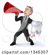 Clipart Of A 3d Young White Devil Businessman Holding A Tooth And Announcing To The Left With A Megaphone Royalty Free Illustration