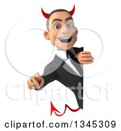 Clipart Of A 3d Young White Devil Businessman Pointing Outwards Around A Sign Royalty Free Illustration