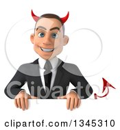 Clipart Of A 3d Young White Devil Businessman Over A Sign Royalty Free Illustration
