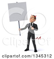 Clipart Of A 3d Young White Devil Businessman Holding And Pointing Up At A Blank Sign Royalty Free Illustration