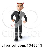 Clipart Of A 3d Young White Devil Businessman Walking Royalty Free Illustration
