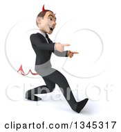 Clipart Of A 3d Young White Devil Businessman Speed Walking And Pointing Slightly To The Right Royalty Free Illustration