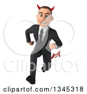 Clipart Of A 3d Young White Devil Businessman Sprinting Royalty Free Illustration
