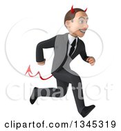 Clipart Of A 3d Young White Devil Businessman Sprinting To The Right Royalty Free Illustration