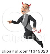 Clipart Of A 3d Young White Devil Businessman Flying And Pointing To The Left Royalty Free Illustration