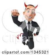 Clipart Of A 3d Young White Devil Businessman Flying Royalty Free Illustration