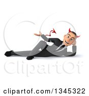 Clipart Of A 3d Young White Devil Businessman Resting On His Side And Presenting Royalty Free Illustration