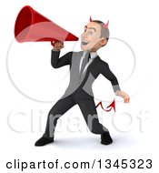 Clipart Of A 3d Young White Devil Businessman Announcing To The Left With A Megaphone Royalty Free Illustration