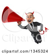 Clipart Of A 3d Young White Devil Businessman Flying And Announcing With A Megaphone Royalty Free Illustration