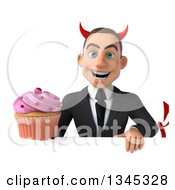 Clipart Of A 3d Young White Devil Businessman Holding A Pink Frosted Cupcake Over A Sign Royalty Free Illustration