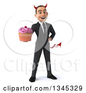Clipart Of A 3d Young White Devil Businessman Holding A Pink Frosted Cupcake Royalty Free Illustration