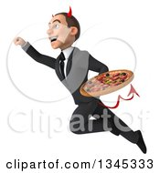 Clipart Of A 3d Young White Devil Businessman Holding A Pizza And Flying Up To The Left Royalty Free Illustration