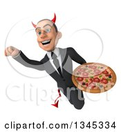 Clipart Of A 3d Young White Devil Businessman Holding A Pizza And Flying Royalty Free Illustration