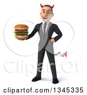 Clipart Of A 3d Young White Devil Businessman Holding A Double Cheeseburger Royalty Free Illustration