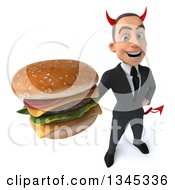 Clipart Of A 3d Young White Devil Businessman Holding Up A Double Cheeseburger Royalty Free Illustration