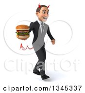 Clipart Of A 3d Young White Devil Businessman Holding A Double Cheeseburger And Walking Slightly To The Right Royalty Free Illustration