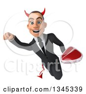 Clipart Of A 3d Young White Devil Businessman Holding A Beef Steak And Flying Royalty Free Illustration
