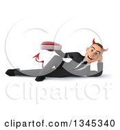 Clipart Of A 3d Young White Devil Businessman Holding A Beef Steak And Resting On His Side Royalty Free Illustration