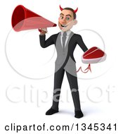 Clipart Of A 3d Young White Devil Businessman Holding A Beef Steak And Announcing With A Megaphone Royalty Free Illustration