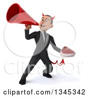 Clipart Of A 3d Young White Devil Businessman Holding A Beef Steak And Announcing To The Left With A Megaphone Royalty Free Illustration