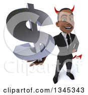 Clipart Of A 3d Young Black Devil Businessman Holding Up A Dollar Currency Symbol Royalty Free Illustration
