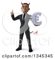 Clipart Of A 3d Young Black Devil Businessman Holding Up A Finger And A Euro Currency Symbol Royalty Free Illustration