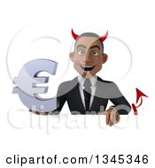 Clipart Of A 3d Young Black Devil Businessman Holding A Euro Currency Symbol Over A Sign Royalty Free Illustration