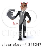Clipart Of A 3d Young Black Devil Businessman Holding A Euro Currency Symbol And Walking Royalty Free Illustration