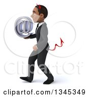 Clipart Of A 3d Young Black Devil Businessman Holding An Email Arobase At Symbol And Walking To The Left Royalty Free Illustration by Julos