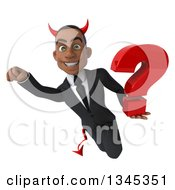 Clipart Of A 3d Young Black Devil Businessman Holding A Question Mark And Flying Royalty Free Illustration by Julos
