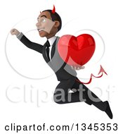 Clipart Of A 3d Young Black Devil Businessman Holding A Red Love Heart And Flying Up To The Left Royalty Free Illustration