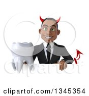 Clipart Of A 3d Young Black Devil Businessman Holding A Tooth Over A Sign Royalty Free Illustration
