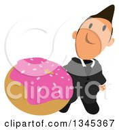 Clipart Of A Cartoon Short White Businessman Holding Up A Pink Frosted Donut Royalty Free Illustration by Julos