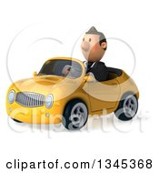 Clipart Of A 3d Short White Businessman Driving A Yellow Convertible Car Slightly To The Left Royalty Free Illustration by Julos
