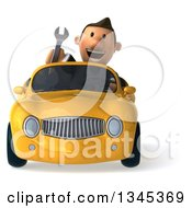 Clipart Of A 3d Short White Businessman Holding A Wrench And Driving A Yellow Convertible Car Royalty Free Illustration by Julos