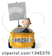 Clipart Of A 3d Short White Businessman Holding A Blank Sign And Driving A Yellow Convertible Car Royalty Free Illustration by Julos