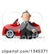 Clipart Of A 3d Short White Businessman By A Red Convertible Car Royalty Free Illustration by Julos