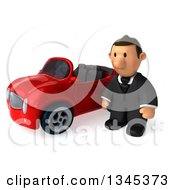Clipart Of A 3d Short White Businessman Pouting By A Red Convertible Car Royalty Free Illustration by Julos