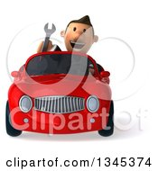 Clipart Of A 3d Short White Businessman Holding A Wrench And Driving A Red Convertible Car Royalty Free Illustration by Julos