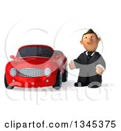 Clipart Of A 3d Short White Businessman Presenting By A Red Convertible Car Royalty Free Illustration by Julos