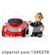 Clipart Of A 3d Short White Businessman Waving By A Red Convertible Car Royalty Free Illustration by Julos