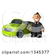 Clipart Of A 3d Short White Businessman By A Green Convertible Car Royalty Free Illustration by Julos
