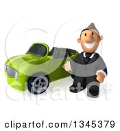 Clipart Of A 3d Short White Businessman Presenting By A Green Convertible Car Royalty Free Illustration by Julos