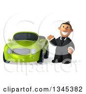 Clipart Of A 3d Short White Businessman Waving By A Green Convertible Car Royalty Free Illustration by Julos